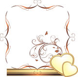 Hearts and sprig. Decorative frame for design Royalty Free Stock Image