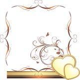 Hearts and sprig. Decorative frame for design. Illustration Royalty Free Stock Image