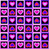 Hearts and squares. Background with seamless pattern made of colourful hearts Royalty Free Stock Images