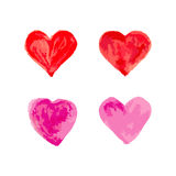 Hearts for St. Valentine day watercolor effect set on white back. Ground Stock Photos