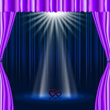 Hearts Stage Represents Beam Of Light And Broadway Stock Photo