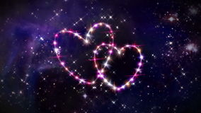 Hearts star space camera rotation. Starry night in space background with heart forming from stars stock video