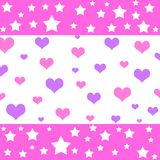 Hearts and stars. Pattern in pink and violet colors Stock Photos