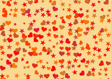 Hearts and stars background. Holiday symbol Royalty Free Stock Photo