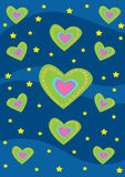 Hearts and stars background texture. Digital background texture with green hearts and stars on a blue background Royalty Free Stock Photography