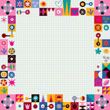 Hearts, stars and flowers abstract art border. Design element Royalty Free Stock Photo