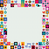 Hearts, stars and flowers abstract art border. On note book paper Royalty Free Stock Photography