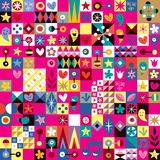 Hearts, stars and flowers abstract art pattern Royalty Free Stock Image