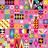 Hearts, stars and flowers abstract art pattern Stock Photography