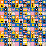 Hearts, stars and flowers abstract art retro pattern. Cute abstract art retro pattern Royalty Free Stock Images