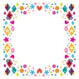 Hearts, stars, flowers and diamond shapes happy frame. Frame design element with copy space Royalty Free Stock Photo