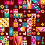 Hearts, stars and flowers retro art pattern. Hearts, stars and flowers retro art seamless pattern design Royalty Free Stock Photos