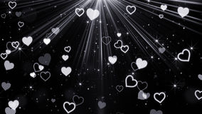 Hearts and stars flying in light rays. Computer generated abstract illustration Stock Photo