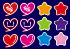 Hearts & Stars neon sign - colorful colors set royalty free illustration