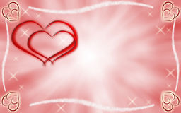 Hearts and stars on pink and white background Stock Images