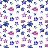 Hearts and stars of purple and blue colors seamless pattern, watercolor illustration stock illustration