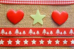 Hearts stars and ribbon Stock Photos