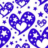 Hearts stars romantic seamless pattern Royalty Free Stock Photography