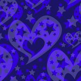Hearts stars romantic seamless pattern Christmas decorations. Stock Photo