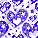 Hearts stars romantic seamless pattern Stock Photos