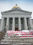 Hearts on the steps of the Vermont Statehouse Royalty Free Stock Images