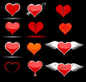 Hearts stickers and icons for a Valentine's Day Stock Photo