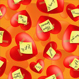 Hearts with stickers and inscriptions valentines Royalty Free Stock Photography
