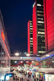 Hearts of Stockholm. 12 February 2016, Stockholm, Sweden. City street decorated with red hearts and bright colorful illuminations for the Valentine`s Day Royalty Free Stock Images