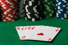 Hearts straight flush royalty free stock images