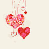 Hearts on strings romantic background. Romantic greeting card or invitation for a special event royalty free illustration