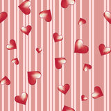 Hearts on a striped background Royalty Free Stock Photo