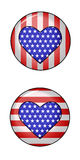 Hearts and Stripes. Two Buttons featuring star spangled hearts on a field of stripes. These buttons are vector graphics that can be resized without loss of Royalty Free Stock Image