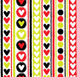 Hearts and stripes seamless vector pattern Stock Photos