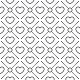 Hearts stripped geometric seamless pattern. Hearts with circles lines texture. Stripped geometric seamless pattern. Modern repeating stylish texture. Flat Royalty Free Stock Photography