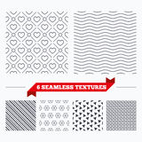 Hearts stripped geometric seamless pattern. Royalty Free Stock Photography