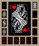 Hearts suit black playing cards. Black playing cards of Hearts suit with white linear drawing. Original design. Vector illustration vector illustration