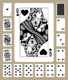 Hearts suit playing cards Royalty Free Stock Photo
