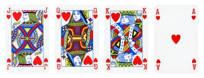 Hearts Suit Playing Cards, Set include King, Queen, Jack and Ace royalty free illustration