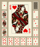 Hearts suit playing cards. Playing cards of Hearts suit in vintage style. Original design. There is in addition a vector format EPS 8 Royalty Free Stock Photography