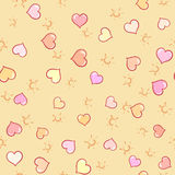 Hearts and sun on seamless background. For summer design. Summer pattern background. Vacation poster Stock Photography