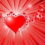 Hearts On Sunburst Background Stock Image