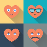 Hearts with sunglasses, eyes, mustache and smile. Design flat vector illustration with long shadow. Hearts with sunglasses, eyes, mustache and smile. Design Stock Photography