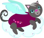 Hearts Sweater Cat Angel Royalty Free Stock Photography