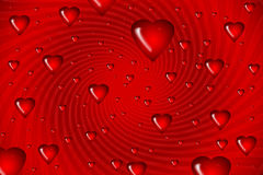 Hearts on swirl background Royalty Free Stock Photography