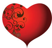 Hearts and Swirls. Red heart with dark swirls on the left side inside the heart Stock Images