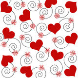 Hearts and swirls. With flowers in red vector illustration