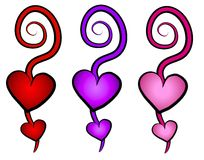 Hearts Swirls Clip Art Icons. A clip art illustration of a group of 3 decorative abstract hearts with swirling designs in purple, red and pink Stock Photos