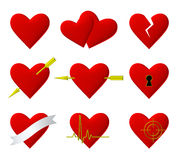 Hearts symbols 3d illustration set Stock Photography