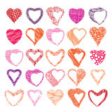Hearts symbols vector set, different shapes and textures vector Stock Image