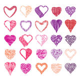 Hearts symbols vector set, different textured shapes Royalty Free Stock Images